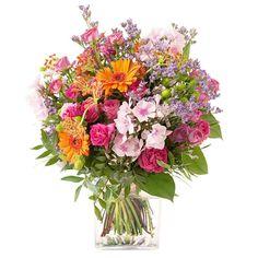 Bohème - roses et fleurs variées aux teintes orange et fuchsia -Interflora