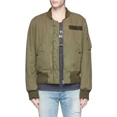 R13 Destroyed cotton flight jacket ($540) ❤ liked on Polyvore featuring men's fashion, men's clothing, men's outerwear, men's jackets, mens distressed leather jacket, mens cotton jacket, mens olive green jacket, mens olive green bomber jacket and mens green military jacket