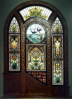 Entrance - door - vitrail - floral - glass and wood - Just wow