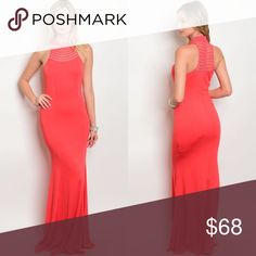 Coral Sleeveless High Neckline Maxi Dress New with tags. Stunning and curve hugging sleeveless high neck beaded coral lined maxi dress.                                                                                               🌸95% polyester, 5% spandex.                                                           🌺PRICE IS FIRM UNLESS BUNDLED.                                      ❌SORRY, NO TRADES. Boutique Dresses Maxi