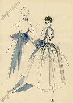 1950s strapless evening dress design by Hannelore Brüderlin © akg-images / E. Mierendorff
