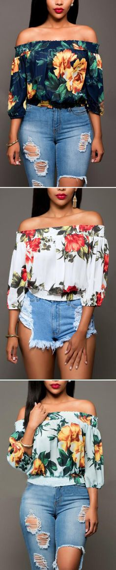 The off the shoulder top is so sweet. Only $22.99 &free shipping!!Add a floral printing dress to your seasonal style!More picked up for you at Romoti.com