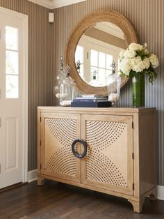Round Mirrors Hall Chest Lexington Home Collaboration New Furniture Collection Barclay Butera Interiors