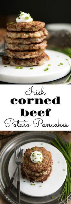 Irish Corned Beef Potato Pancakes via @theforkedspoon #cornedbeef #stpatricksday #potatoes #dinner #easyrecipe #holidayrecipe #irish #potatoes
