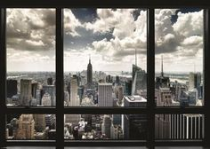 Pyramid America New York City Skyline Through Window Landscape Cool Huge Large Giant Poster Art Window View, Window Art, Wall Art Prints, Poster Prints, Canvas Prints, New York Landscape, Pictorial Maps, Boat Painting, Sale Poster