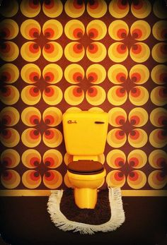 """One thing about the 1970s that amazes me is why weren't we all constipated? Look at this bathroom! """"...Paranoia sinks deep, into your life it will creep""""... especially when you are trying to freakin' pee!"""