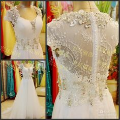 2014 hua_yi_zhang High Quality V Neck Short Sleeve A Line Cathedral Train Pleat Applique Beads Crystal Sequins Tulle Prom Dress Olesa