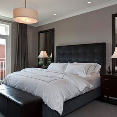 aldine avenue contemporary bedroom chicago michael abrams limited mirrors above bedside tables - Master Bedroom Paint Colors