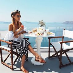 Breakfast in paradise at @canavesoia, wearing some of my @netaporter vacation favorites.   #jetaporter #santorini #greece http://liketk.it/2rRMk