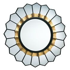 "The Tempe mirror offers dining rooms, entryways, and elegant bedrooms a modern take on the classic sunburst. Framed in black, mirrored panels form the silhouette with metallic gold leaf encircling the center. 1.5""D x 32"" Diameter. Beveled mirrored glass. Old World, gold. Weight: 17 lbs. Wipe with soft, dry cloth to clean."