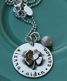 "our custom handstamped necklace, ""lucky in love"", it's a March exclusive and will no longer be available after March 31!"