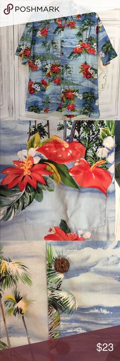 Men's Authentic Hawaiian Tropical Button Down Top Size XL. 100% cotton. Beautiful tropical pattern of Hawaii. Purchased on the Big Island of Hawaii in Kona. Front pocket. Buttons down the front. Perfect condition! Hilo Hattie brand. Hilo Hattie Shirts Casual Button Down Shirts