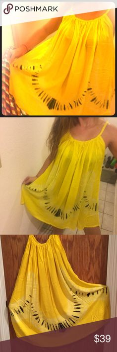 Yellow Beach Dress My number 1 seller. This dress is so comfy. Nice bright colors with size able straps. Dress it up or wear it to the pool. Tie-Dyed Melayni.com Dresses Midi