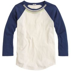 J.Crew Jeweled Baseball T-Shirt (1,285 EGP) ❤ liked on Polyvore featuring tops, t-shirts, shirts, tees, baseball t shirt, sparkly t shirts, loose fitting t shirts, loose fit t shirts and loose fitting shirts