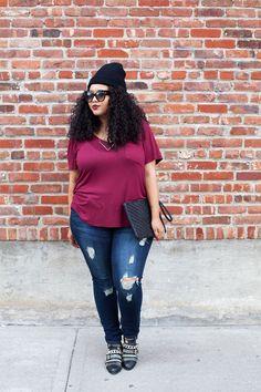 Plus Size Fashion - GabiFresh - Tee & Jeans
