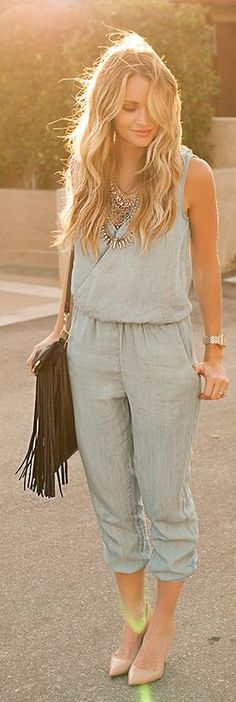 In love with the color 😍😍 Velvet Heart Blue Denim Inspired Sleeveless Street Chic Jumpsuit Summer Outfits, Casual Outfits, Cute Outfits, Fashion Outfits, Party Fashion, Love Fashion, Womens Fashion, Street Style, Street Chic