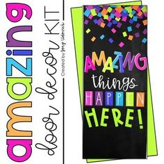 Door Decoration Set Amazing Things Happen is part of Classroom decor Cricut - BUY THE BUNDLE AND SAVE! ★★★This is a simple, yet fun, message that let's anyone that walks by your classroom know that AMAZING things are taking place behind your Middle School Classroom, First Grade Classroom, New Classroom, Preschool Classroom, Classroom Themes, High School, Classroom Design, Kindergarten Door, Hallway Displays