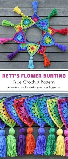 Rett's Flower Bunting Free Crochet Pattern - We were talking about decorating our interiors with crochet buntings, but we haven't mentioned ga - Crochet Squares Afghan, Crochet Triangle, Crochet Granny, Crochet Motif, Crochet Yarn, Crochet Stitches, Free Crochet, Crochet Bunting Free Pattern, Crochet Garland