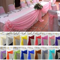Top Table Swags Sheer Organza Fabric DIY Wedding Party Bow Decorations in Home & Garden, Wedding Supplies, Venue Decorations Wedding Table, Wedding Reception, Our Wedding, Garden Wedding, Party Wedding, Wedding Ideas, Wedding Designs, Diy Wedding Decorations, Table Decorations