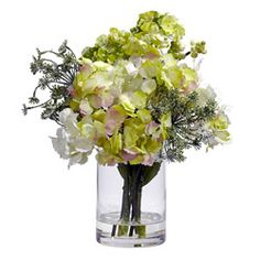 @Overstock - Painstakingly designed for beautyMaterials: Polyester Material, Plastic, Iron wire  Plant: Hydrangea  http://www.overstock.com/Home-Garden/Hydrangea-Silk-Flower-Arrangement/6267990/product.html?CID=214117 $30.04