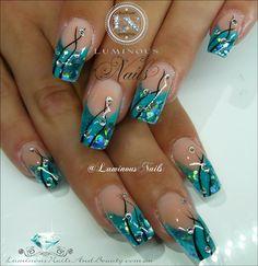 nail art aqua glitter - Google zoeken