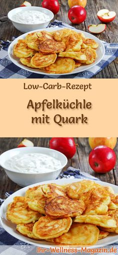 Low carb apple pie with curd cheese - healthy recipe for breakfast Low Carb Apfelküchle mit Quark – gesundes Rezept fürs Frühstück Low-carb recipe for apple cakes with curd: low-carb breakfast – healthy, reduced-calorie, without cereal flour … carb - Healthy Dessert Recipes, Low Carb Recipes, Healthy Snacks, Pie Recipes, Quark Recipes, Lemon Desserts, Healthy Muffins, Healthy Nutrition, Brunch Recipes