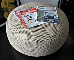DIY Pouf ~ Make an oversized floor pouf inspired by West Elm using ...