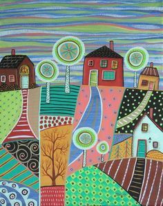 Patch Landscape ORIGINAL CANVAS PAINTING 16x20 inch FOLK ART ABSTRACT Karla G #FolkArtAbstractPrimitive