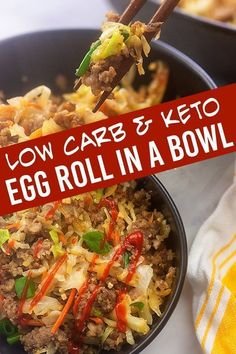 Whether you call this egg roll in a bowl or crack slaw youre going to love this quick weeknight dinner recipe! Its ready in just 20 minutes and is really packed with flavor. Such a healthy option for a quick dinner. Low Carb Recipes, Cooking Recipes, Healthy Recipes, Bariatric Recipes, Healthy Meals, Jamie Oliver, Breakfast Recipes, Dinner Recipes, Breakfast Ideas