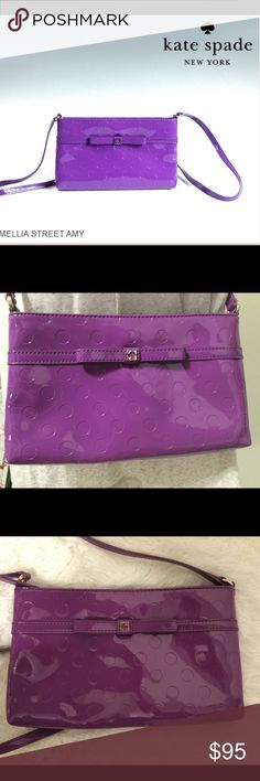 """Kate Spade purse purple PVC crossbody bag exc. con This is a Kate Spade patent purple crossbody bag.  This bag is in EXCELLENT CONDITION FLAWLESS and comes from a smoke free home. Bag length measures approx. 9.5"""", bag height approx. 5.5"""", bag depth 1.2"""", strap drop approximately 21"""". It has gold style hardware including zipper and a Kate Spade stud in front center.  Buy with confidence I am a top rated seller, mentor and fast shipper.  Don't forget to bundle and save.  Thank you. kate spade…"""
