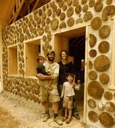 Cordwood 24 inch walls. Like the windows, probably has great deep window seals.