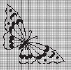charts - crochet for you Butterfly Quilt, Butterfly Cross Stitch, Crochet Butterfly, Cross Stitch Heart, Cross Stitch Cards, Cross Stitch Borders, Cross Stitching, Cross Stitch Embroidery, Cross Stitch Patterns