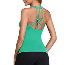 Oalka Womens Workout Shirts Racerback Yoga Sport Pads Bras Fitness Active Tank Tops