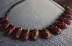 Kudin mukana: Polymeerimassa: Mallaviri's favourite shape in beads with gold and purple