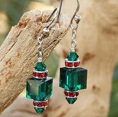 Swarovski Crystal Christmas Earrings Handmade Emerald Siam Green | ShadowDogDesigns - Jewelry on ArtFire