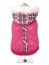 Highland Lady Quilted Tartan Dog Coat - This is a first in a range of coats that pay homage to those great British designers who have led the way with floral, stripped and checked patterns making them more popular than ever. This multi layered coat with detachable hood will keep the heat in and the cold out come what may and the colour wi...