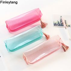 Kawaii Transparent Glitter Pencil Case Stationery Bags Creative Fashion Pvc Pencil Bag School Pencil Box Supplies Student Gift j aime trop! Stationary School, Cute Stationary, School Stationery, Pencil Bags, Pencil Pouch, Pencil Holder, Diy Back To School Supplies, School Pencil Boxes, Cute Pencil Case