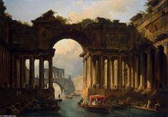Stunning medieval concept art of reusing old roman temples as a canal for enjoyment. Painting by the  Hubert Robert.