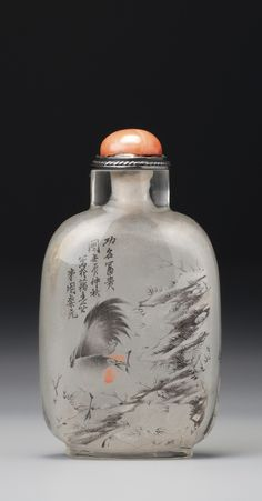 AN INSIDE-PAINTED GLASS 'ROOSTER' SNUFF BOTTLE<br>ZHOU LEYUAN, 1892 | lot | Sotheby's