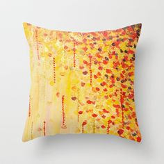 WHEN IT FALLS Bold Autumn Winter Leaves Abstract Acrylic Painting Christmas Red Orange Gold Gift Throw Pillow by EbiEmporium - $20.00