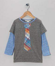 Take a look at this Heather Gray & Blue Plaid Tie Layered Tee - Toddler & Boys by Million Polkadots on #zulily today!