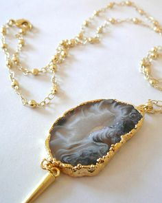 Gold Plated Druzy Agate & Spike Pendant - JewelMint