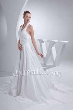 Drop Waist Wedding Dresses Halter Court Train Taffeta Satin White 010010701145