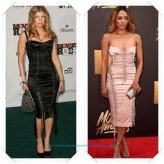 Un vestido de Dolce & Gabbana lo llevo en negro Fergie a un evento en el 2007; en color nude lo llevo Kat Graham a los MTV Movie Awards.