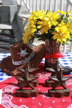 "Photo 1 of western theme / Volunteer Appreciation Lunch ""Volunteer Round Up Cowboy Party, Cowboy Birthday, Western Centerpieces, Centerpiece Ideas, Western Table Decorations, Dining Centerpiece, Texas Party, Fundraiser Party, Western Theme"
