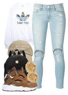"""just a lil sum 3.1.16"" by thebaddestbaddie ❤ liked on Polyvore featuring adidas, Frame Denim and NIKE"