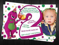 BARNEY Photo Birthday Invitation Custom by FinalTouchesArtwork, $10.00