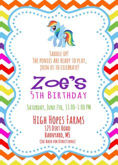 My little pony birthday invitation wording party my little pony my little pony birthday invitation front and by jwhcreativestudio filmwisefo Images