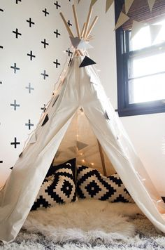 An Interior Stylist's Glam Midwest Remodel Charming black and white teepee Girl Room, Girls Bedroom, Bedroom Decor, Bedroom Ideas, Childrens Bedroom, Nursery Decor, Tp Tent, Tent Room, Teepee Kids