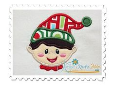 Elf Boy Head 1 Applique - 3 Sizes!   Christmas   Machine Embroidery Designs   SWAKembroidery.com Katelyn's Kreative Stitches
